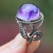 Silver Amethyst Gemstone Oval Rope Edge Vintage Band Ring Natural Amethyst Ring Size 6, 7, 8, 9 , 10(China)