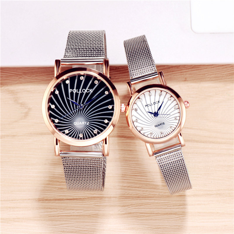 Luxury Lover's Watch Fashion Couples Watches Silver Unisex Watch Mesh Strap Women's Quartz Wristwatch Pair Clock Men Watch Gift