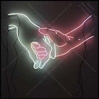 Neon Sign for LOVE hand Handshake Neon Bulb sign handcraft Home real glass neon signboard Decorate Hotel light anuncio luminos