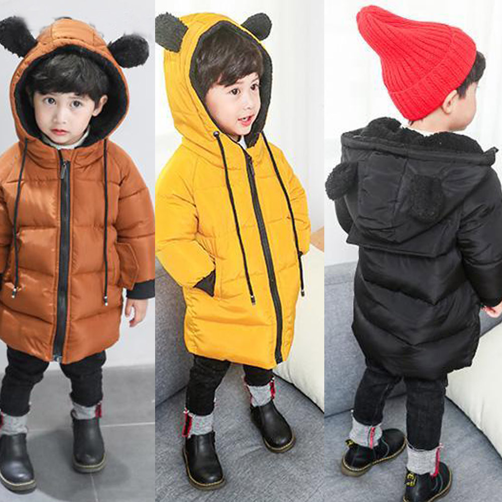 MUQGEW Jacket Winter Zipper Infantil New-Fashion Solid Hooded for Boy Full-Sleeve Long