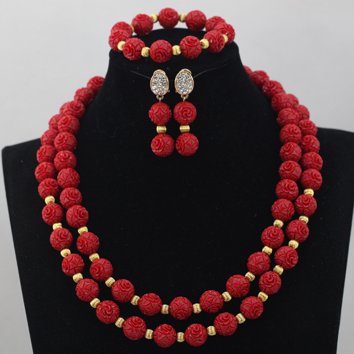 Red Fashion Jewelry Sets Necklace Earrings Set Women Costume Artificial C Beads Free Shipping Cnr620 In Bridal From