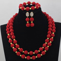 Red Fashion Jewelry Sets Necklace Earrings Set Women  Costume Jewelry Set Artificial Coral Beads  Free Shipping CNR620