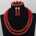 Sistemas de la Joyería de Moda Pendientes Del Collar de Las Mujeres Joyería de Traje rojo Conjunto Artificial de Coral Perlas Envío Gratis CNR620