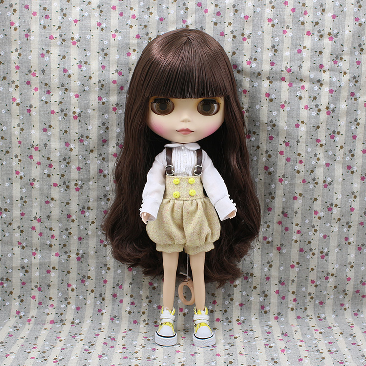 Free shipping Blyth nude doll brown scalp long wig with bangs doll for sale free shipping nude blyth doll brown wavy wig doll toys for girls