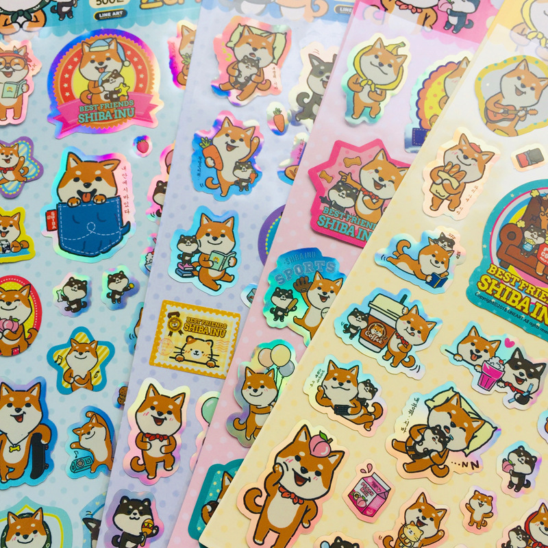 Transparent Laser Shiba Bullet Journal Decorative Stickers Scrapbooking Sticker Label Diary Stationery Album Stickers