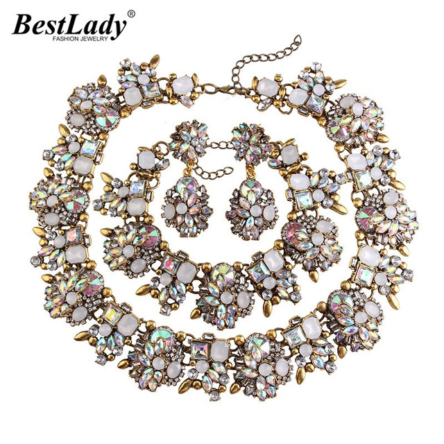 Best lady Brand Gem Vintage White AB Color Crystal Chunky Statement Necklace Maxi Collier Luxury Maxi Choker Necklace 3281