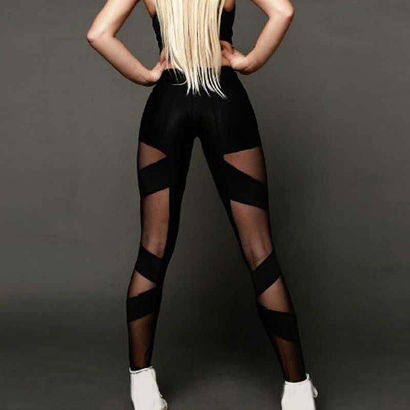 Panie wysokiej talii Mesh kobiety legginsy Fitness oddychające Push Up cienkie legginsy kobiety szybkie pranie na co dzień legginsy