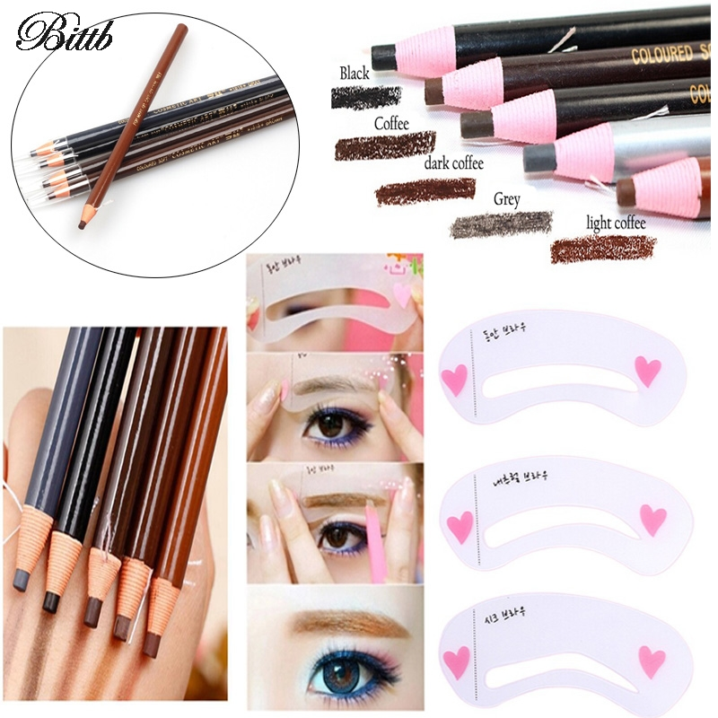 Bittb Eyebrow Makeup Set Waterproof Durable Automatic Eye brow Pencil Drawing Guide Eyebrow Stencil Card Template Assistant