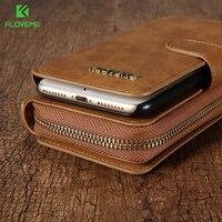 FLOVEME Wallet Case Bag Retro Luxury Genuine Leather Pouch Case For IPhone 7 Detachable Wallet Handbag