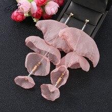 Badu Long Drop Earrings for Women Fashion Handmade Yarn Flower 2019 NEW Summer Bohemian Jewelry Gift Wholesale