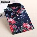 Dioufond florales camisas blusas de las mujeres blusa de algodón blusa femenina de manga larga camisa de las mujeres tops y blusas 2016 nueva moda 5xl