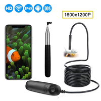 1200P Telescoping Wireless Endoscope Camera IP68 Waterproof 2.0MP Semi Rigid Snake Camera for Android and iOS iPhone, Samsung