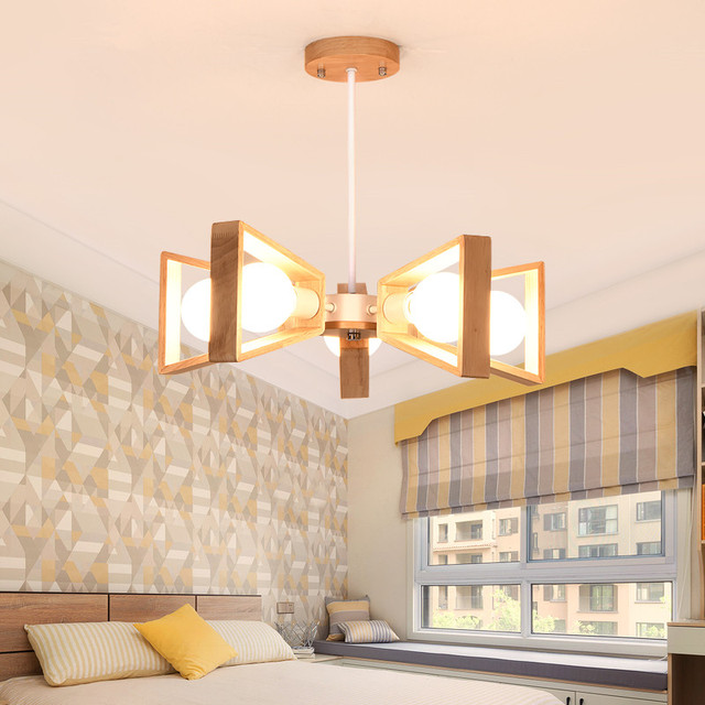 5 Heads Northern Europe Wood Bedroom Chandelier Light Personality Originality Restaurant Study Simple Modern Home Decor