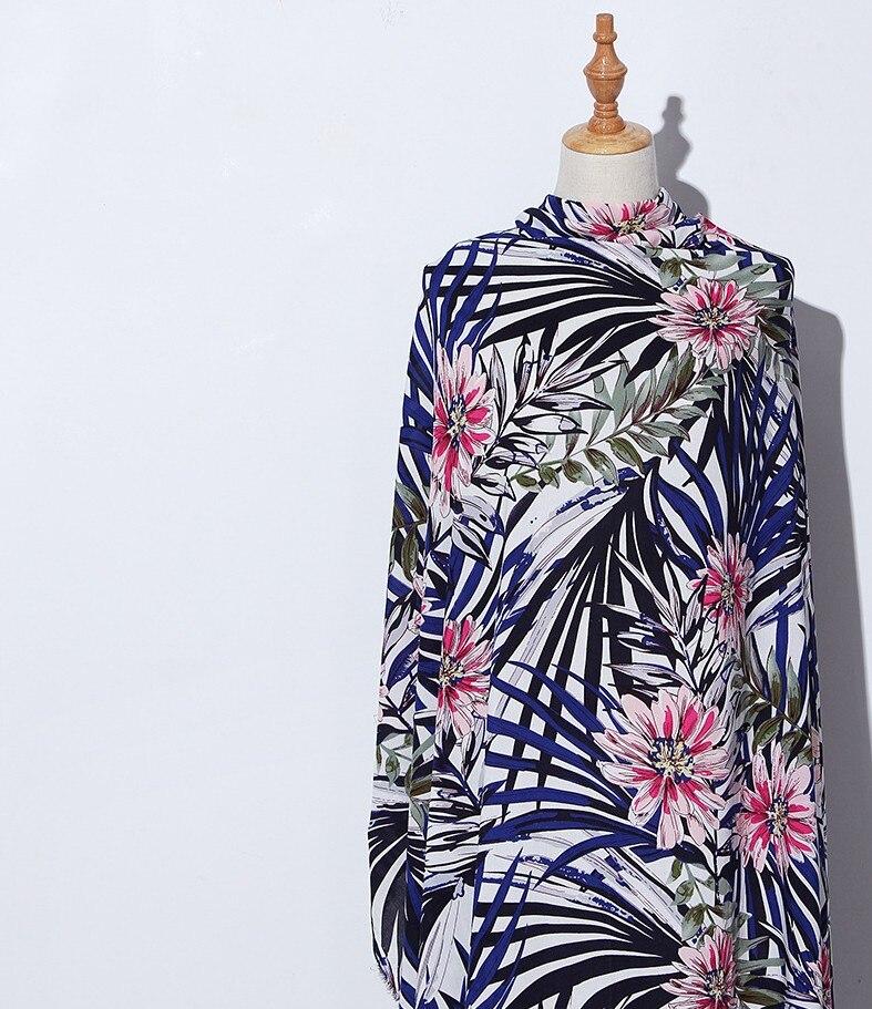 Un metro viscosa suave Estilo Hawaiano impreso Floral hojas vestido ...