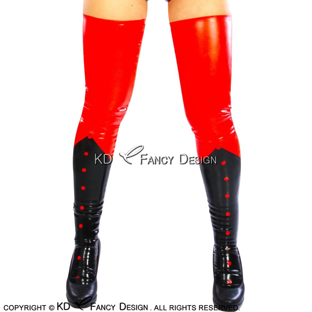 Black With Red  Sexy Long Latex Stockings With Spots Rubber Thigh high stockings WZ-0013