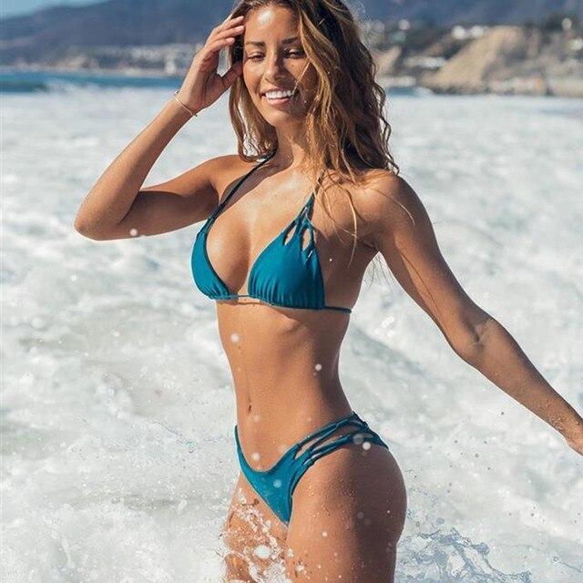 2019 Sexy Thong Bikini Set String Swimwear Solid Backless Swimsuit Lace Up Bathing Suit Women Push Up Padded Bikini Badpak Dames