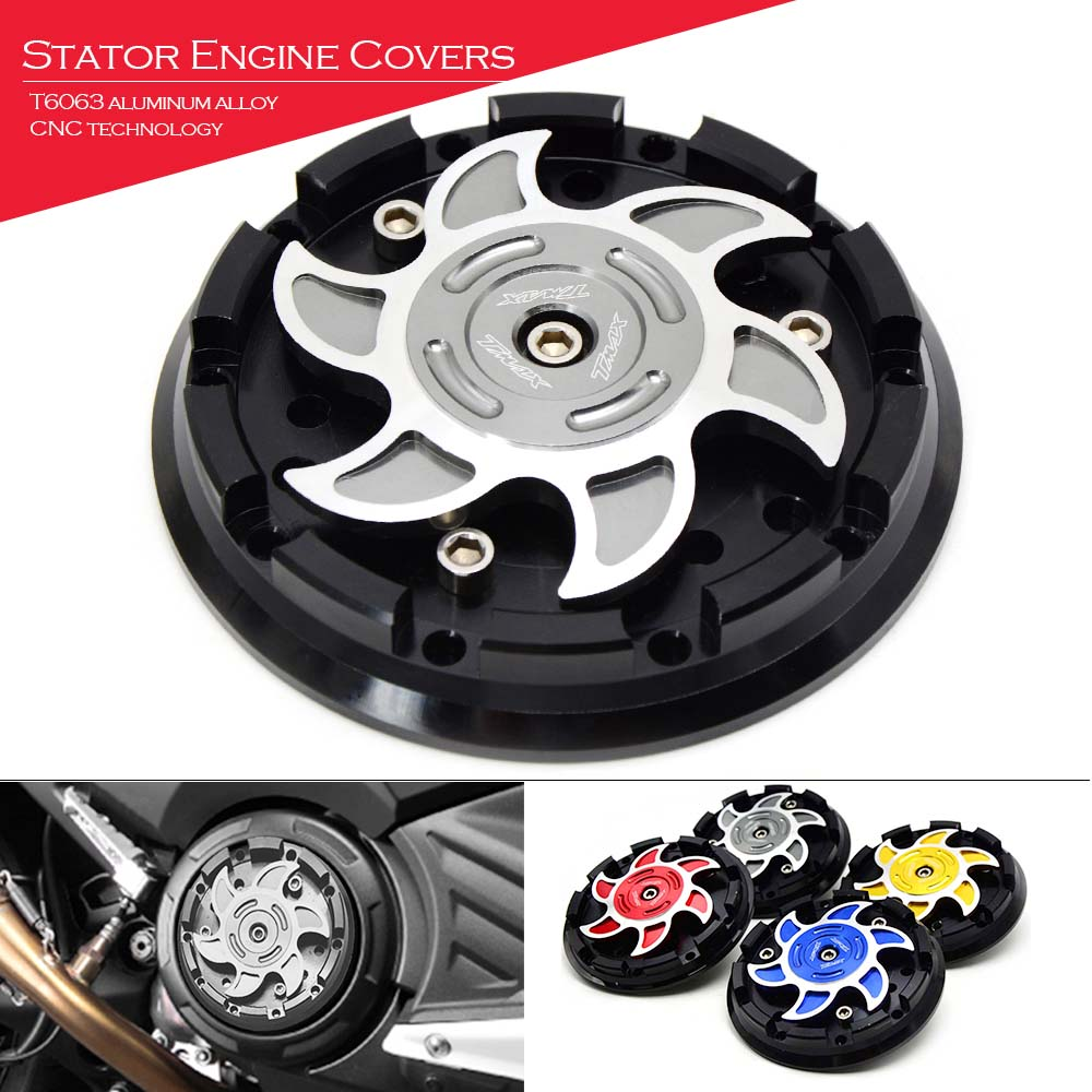 For Yanaha TMAX530 TMAX 500 530 Engine Stator Cover Guard CNC Aluminum Motorcycle Accessories Case Slider ProtectionTMAX LOGO motorcycle cnc 6 hole beveled engine side guard derby cover