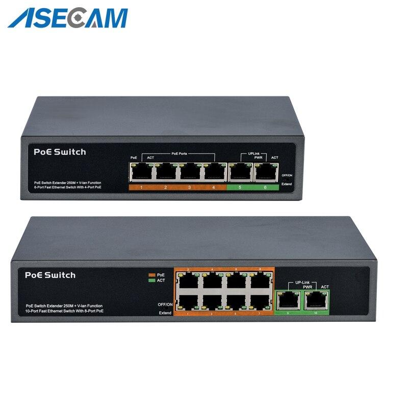 Haute qualité CCTV 48 V PoE commutateur professionnel pour caméra IP 2 + 4 ports 8 ports 10/100 Mbps PoE injecteur puissance sur Ethernet