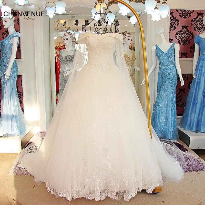 LS60102 Vestido De Noiva Princesa Vintage Bryllupskjole med Lang Train Robe De Mariage Beading Crystal Bryllupskjoler