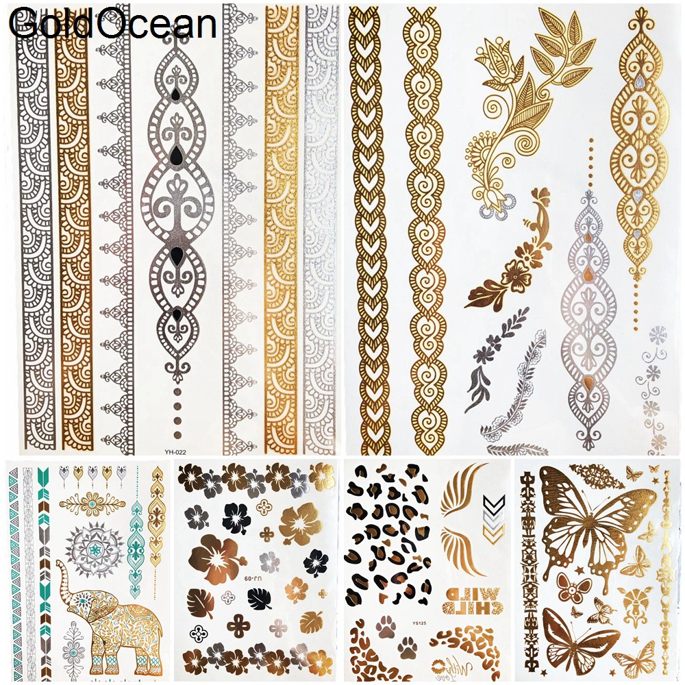 Bracelet Gold Metalic Temporary Tattoo Stickers Girl Body Arm Art Flash Fake Tattoo Indian Chains Women Wrist Tatoo Henna Flower ...
