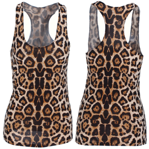 X-300 Leopard 3d digital print tank top sleeveless tee punk top cropped Fashion Camis