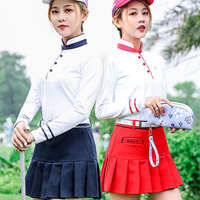 Pgm Golf Apparel Women'S Skirt+Shirts Suit Ladies Tennis Sport Skirts Long Sleeve Shirts Breathable Golf Sports Clothing D0493