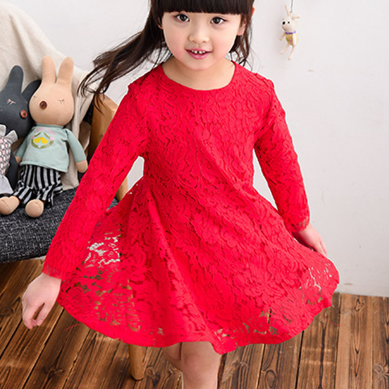 Girls Spring Dress 2017 Children's Clothing Solid Color Baby Girl Lace Dress Long Sleeve Princess Little Girls Dresses For Party acthink 2017 new girls formal solid lace dress shirt brand princess style long sleeve t shirts for girls children clothing mc029