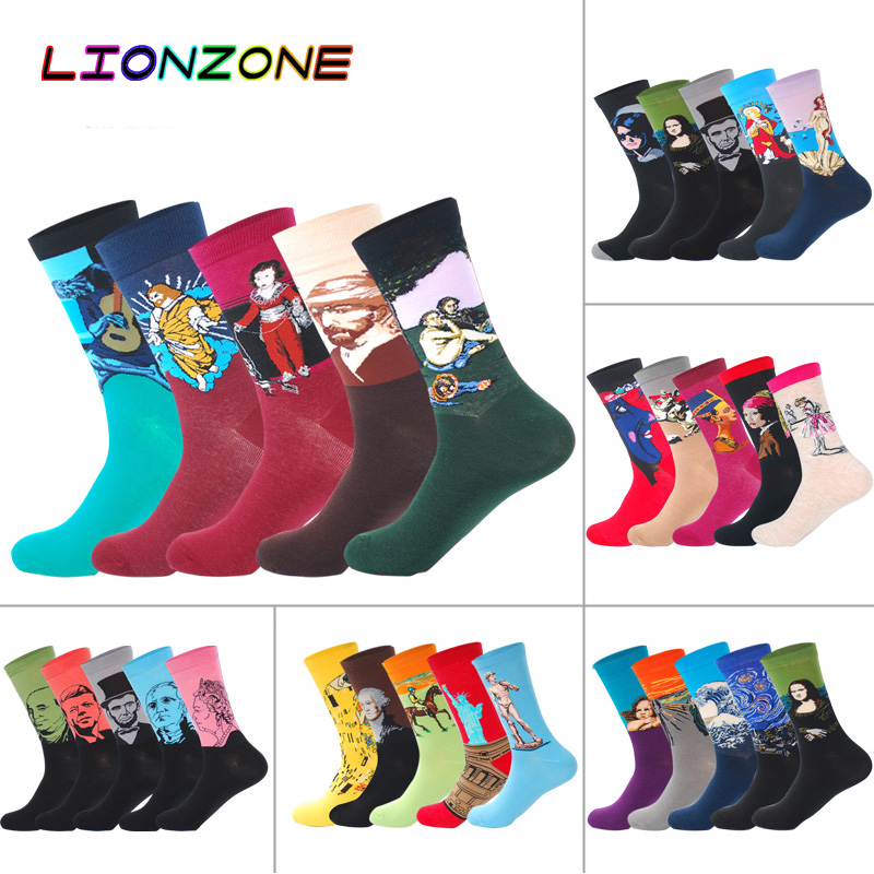 LIONZONE 5Pairs/Lot Combed Cotton Men Casual Socks Calcetines Hombre Divertidos Hip-hop Funny Happy Sock Crew Man Socks