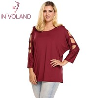 IN VOLAND Women T Shirt Tops Summer Plus Sizes Round Neck Cut Out Batwing 3 4