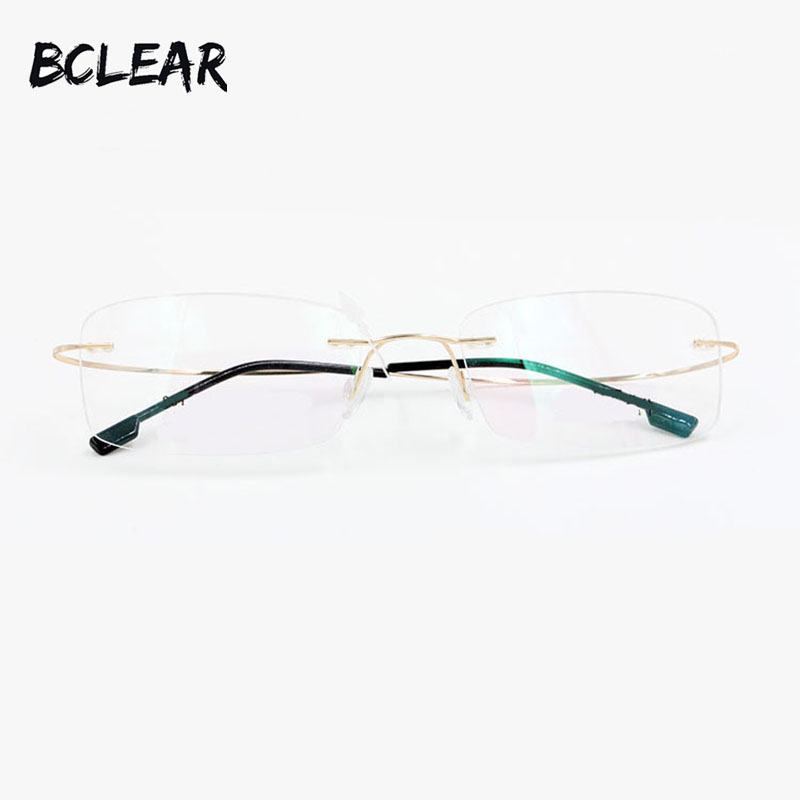 BCLEAR Mode Ljushet Unisex Eyeglasses Memory Titanium Alloy Rimless Optical Frame Flexibel Prescription Spectacle Eyewear