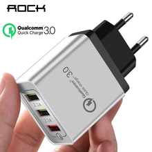 ROCK Quick Charging QC 3.0 Smart Fast 3 USB Wall Charger For Xiaomi Samsung Huawei Quick Charge Charging Adapter Mobile Phone(China)