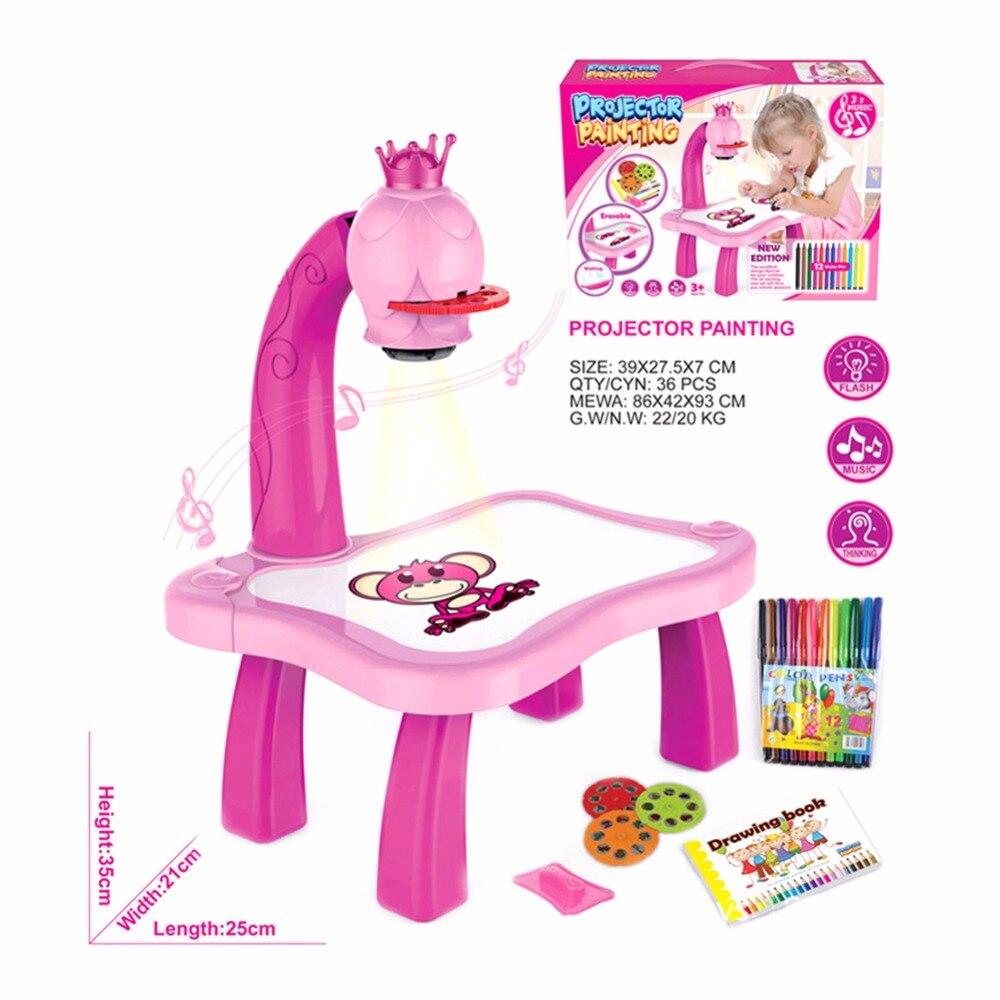 Anak Menggambar Mainan Listrik Proyektor Lampu Proyeksi Gambar Mewarnai dan Lukisan multi fungsional Mesin Mainan Pendidikan di Menggambar Mainan dari