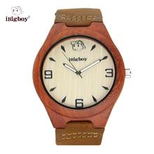 Padauk iBigboy Hombres Relojes De Madera Natural de Madera Las Mujeres Luminoso de Cuarzo Reloj Deportivo de Cuero Para Hombre Reloj Relogios