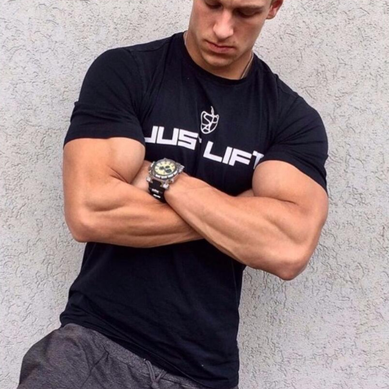 Mens Short sleeve cotton   t     shirt   gyms Fitness bodybuilding   shirts   Crossfit workout male Brand tee tops casual Slim fit clothes