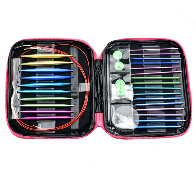 KOKNIT Crochet Hook Set 26PCS Circular DIY Knitting Needles Change Head Needle For Women DIY Craft Sewing Accessories With Case 8