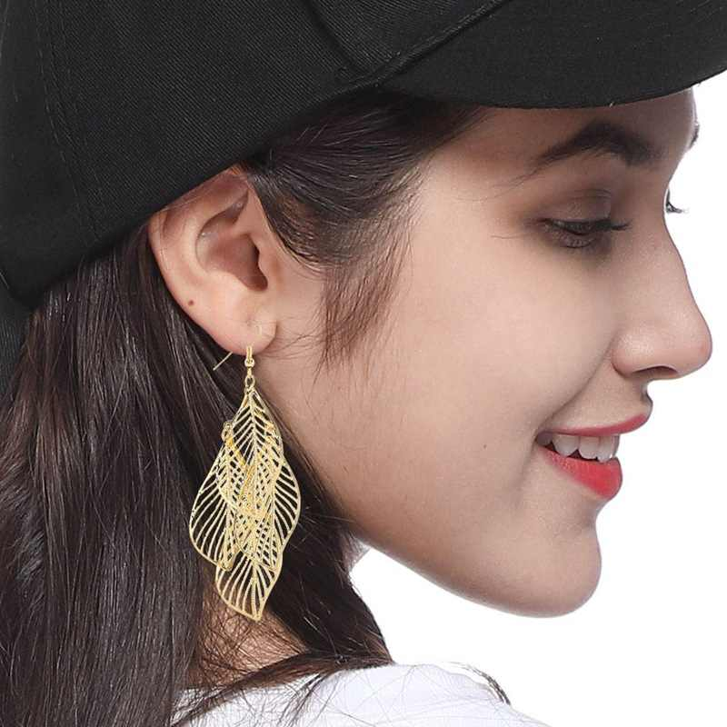New Gold / Silver/Black Color Leaves Earrings Long Ladies Multi-storey Hollow Large Pendant Earrings Fashion Jewelry Gifts