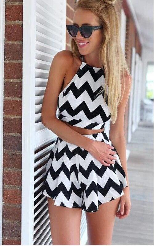 09c8ec1eb8d Women Sexy Sleeveless Backless Two Piece Set Dress Black White Wave Stripe  Tops+Shorts-80018