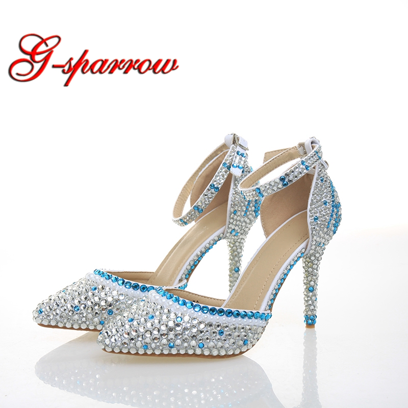 Fashion Woman Shoes Silver Blue Color Rhinestone Bridal Shoes Pointed Toe White Pearl Unique High Heels
