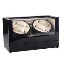 New US Plug 4 Slots Wood Clock Casket Watch Winder Box Lacquer Rotate Slient Motor Display Clock Winder Luxury Watch Case