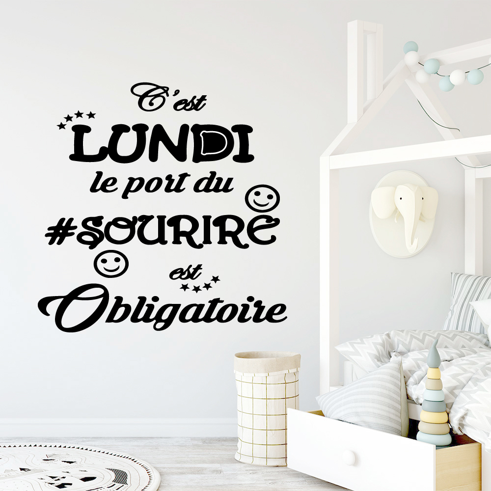 Hot Sale French text Self Adhesive Vinyl Waterproof Wall Art Decal vinyl Stickers Home Decoration Accessories