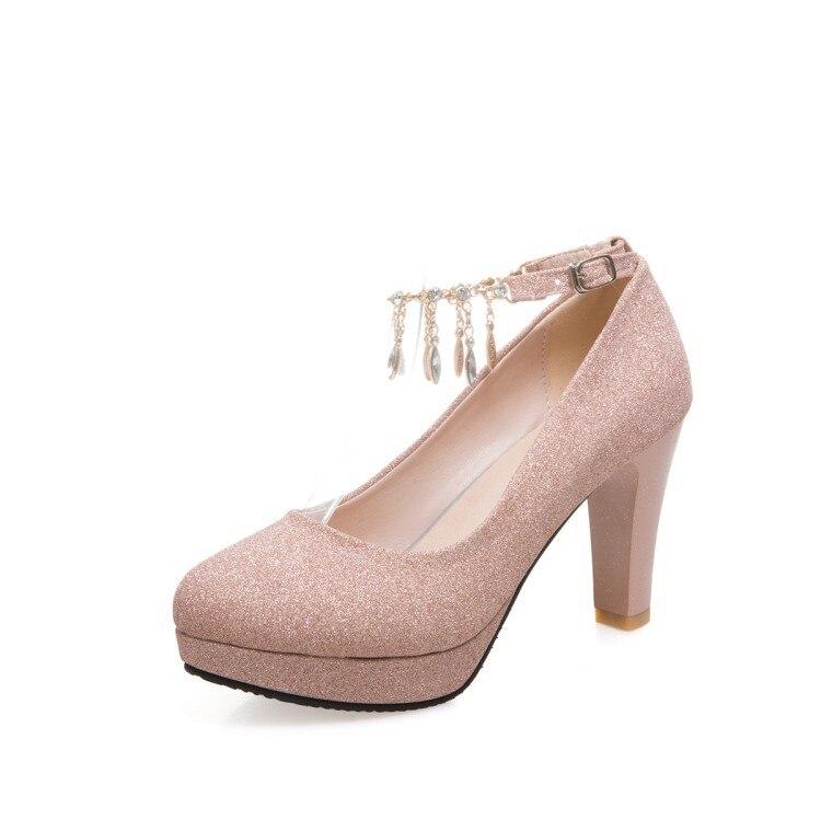 Oro 42 Las Boda Para Mujeres Oro Cadena Alto plata Bombas Redonda Zapatos Tacón rosado Mujer Gran Cabeza Tamaño Plataforma Mujer Grueso De Taladro RAFqHR