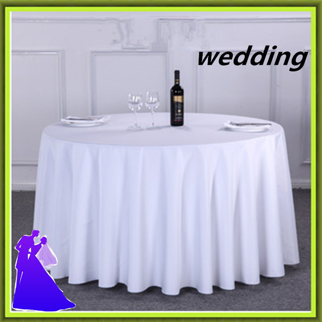 10PCS/LOT White Table cloth 120inch Restaurant/Hotel/Banquet Tablecloth Polyester Table Linen Decoration Free Shipping