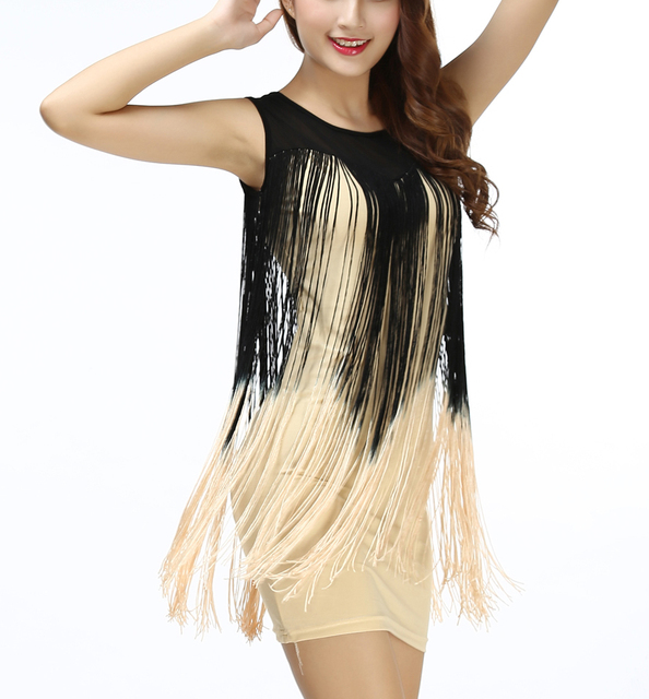 Two tone gradient color illusion neck fringe Tassel embellished tank  western flapper shift prom mini mini latin dress to Party d9d3f83fb937