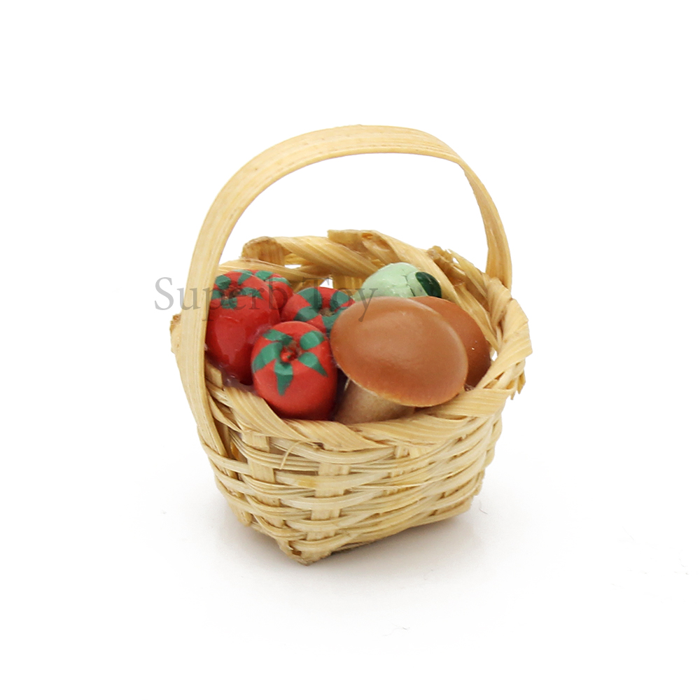 Dollhouse Miniature Wicker Baskets Set 6 for Fruits Vegetables Food Market