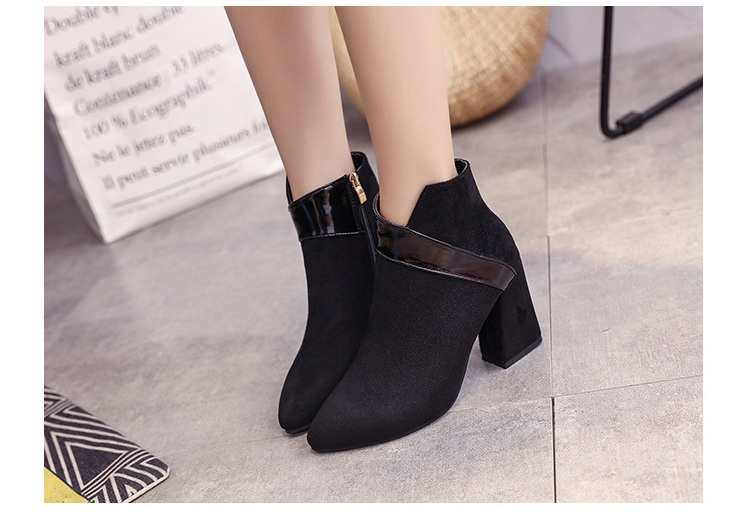 High heels shoes women autumn winter sexy pointed toe ankle boots ladies retro chunky heels short boots botas mujer beige black 53