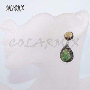 Image 4 - 5 Pairs geode druzy oorbellen drop shape oorbellen sieraden oorbellen mix kleuren groothandel sieraden 4881