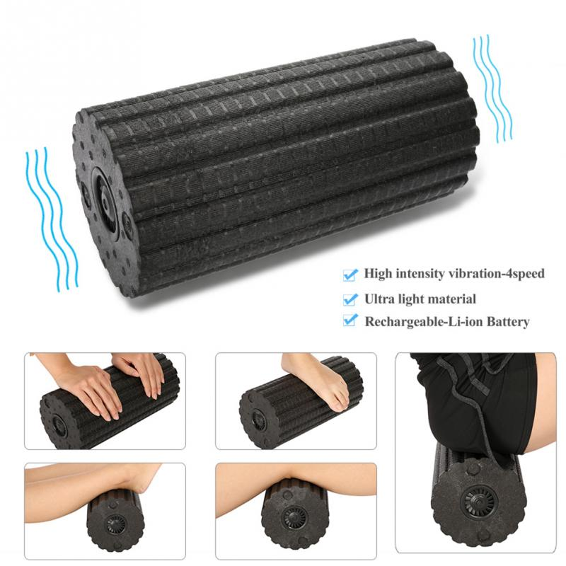 Body Massage Foam Roller For Exercise Muscle Relax Pain Relieve Massager Yoga Gym Triggerpoint 4 Speed Vibrating Massage Therapy elite fitness massager roller stick trigger point muscle roller exercise therapy releasing tight body massage tool gym rolling