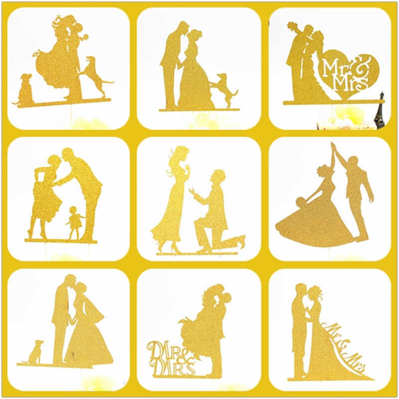 Cake Topper Wedding Gold Party Supplies Bride And Groom Cake Topper Weeding Decoration For Weddings Mr Mrs Wedding Cake Topper