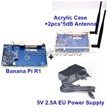 Banana Pi R1 BPI-R1 Smart Home Open-Source Wireless Router + 5V 2.5 EU Power Supply + 2*5dB Antenna + Acrylic Case Enclosure