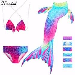 3 pçs/set Crianças Cauda de Sereia Swimsuit Meninas Crianças Swimwear Maiô Traje Cosplay Novo 2018 Bikini Set Fatos de banho